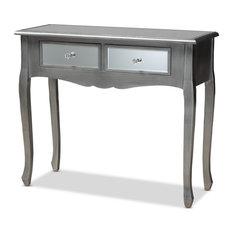 Theia Brushed Silver Wood And Mirrored Glass 2-Drawer Console Table