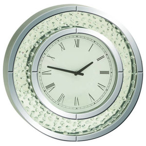 c02c864d7a Wood and Mirror Round Analog Wall Clock, White - Contemporary - Wall ...