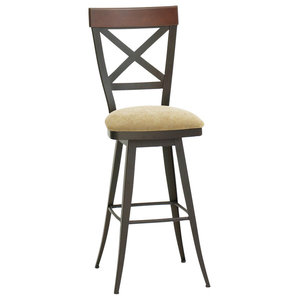 Amazing Amisco Kyle Swivel Stool With Wood Backrest 41414 Pabps2019 Chair Design Images Pabps2019Com