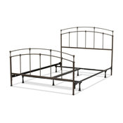 Fenton Bed With Metal Duo Panels and Globe Finials, Black Walnut, King