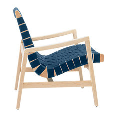 Risom Lounge Chair With Arms by Knoll, Steel Blue Cotton Webbing, Clear Maple