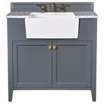 """Ancerre Designs - Adeline Vanity Set, Sapphire Gray, 36"""", Single Sink - You just can't take your eyes off our Adeline Collection. It conveys understated elegance that resonates the rich history of the farmhouse sink period. The large farmhouse sink is not only aesthetically pleasing, but also functional for your everyday use. In crafting the Adeline collection, no detail was overlooked - from selecting quality wood to using the most durable soft-close hardware. The vanity set includes: a furniture style cabinet, a farmhouse basin, an imported Italian Carrara white marble top, a 4"""" solid wood backsplash, solid wood dovetailed drawer boxes, slow closing doors/drawers, and satin brushed gold hardware. Being meticulously crafted, the Adeline Collection will be cherished by your family for generations to come."""