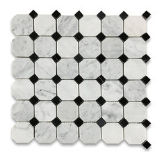 "12""x12"" Carrara White Octagon Mosaic, Black Dots Polished, Chip Size: 2"""