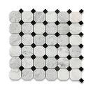 "12""x12"" Carrara White Octagon Mosaic, Black Dots Polished, Chip Size: 2"""
