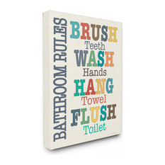 Colorful Bathroom Rules Typog Art Wall Art, 16x20, Stretched Canvas