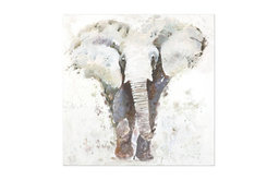 "Uttermost ""Curiosity"" Hand-Painted Elephant Art, 40""x40"""