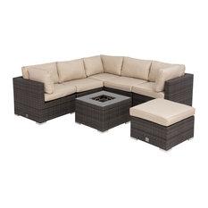 Maze Rattan Ltd - London Corner Sofa Set, Brown - Garden Lounge Sets