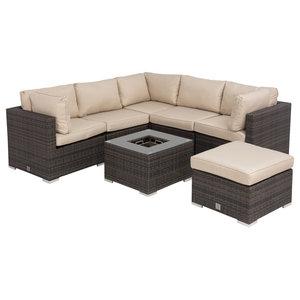 London Corner Sofa Set, Brown