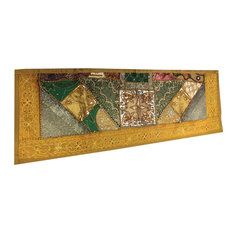 Mogul Interior - Consigned Sari Green Gold Sequin Embroidered Tapestry - Table Runners