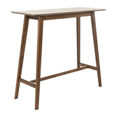 GDFStudio   Margaret Natural Walnut Finish Wood Bar Table, Walnut   Indoor  Pub And Bistro