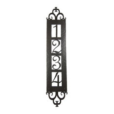 Spanish Style Hammered Iron Vertical Address Plaque 4 Number Apv14, #2 Bronze