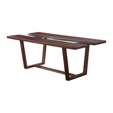 Bowery Hill Contemporary Dining Table With Glass Inlay In Brown