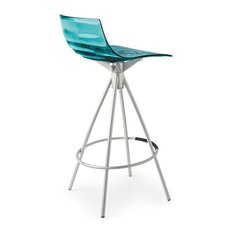 L'Eau Counter Stool, Transparent Aquamarine, Non-Swiveling