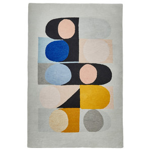Inaluxe Yellow and Blue Shapes Rectangular Funky Rug, 150x230 cm