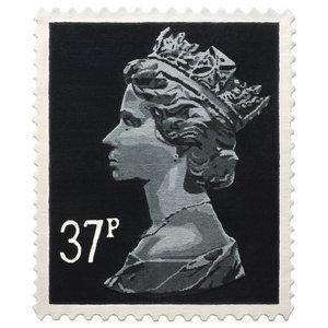 Black 37p Stamp Rug, 120x144 cm