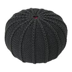 GDF Studio Agatha Knitted Cotton Pouf, Dark Gray