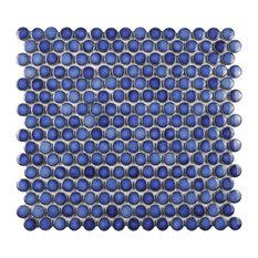 "12""x12.63"" Penny Porcelain Mosaic Floor/Wall Tile, Ocean Blue"