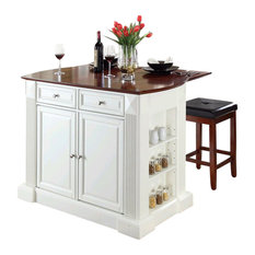 Crosley Coventry Drop Leaf Kitchen Island With Square Stool In White