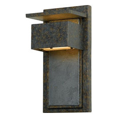 Quoizel   Zephyr 1 Light Outdoor Wall Sconce, Muted Bronze With Frosted  Glass