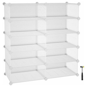 Modern Cube Shoe Rack with  Metal Mesh Shelves, White, 10-Cube
