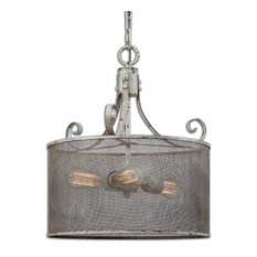 uttermost shabby french vintage style 3 lt drum pendant chandelier light rustic distress pendant - Drum Pendant Lighting