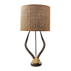 Dimond Home Faux Horn Table Lamp, Brown With Burlap Shade
