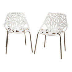 Birch Sapling White Finished Plastic Dining Chair, Set of 2