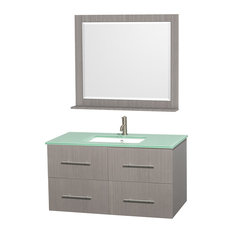 "Centra 42"" Vanity, Square Sink, 36"" Mirror, Gray Oak, Green Glass"