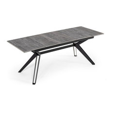 Modrest Dennis Modern Grey Ceramic Extendable Dining Table