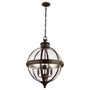Adams Pendant Chandelier, Bronze, 4 Lights