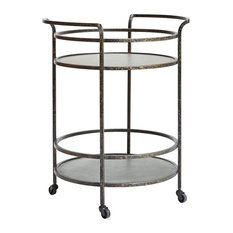 - Chicago Metal Drinks Cart in Galvanised Silver - Indoor Bar Tables