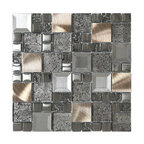 "Glass Metal Mix Mosaic Backsplash Tile, 12""x12"""