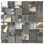 "Mosaic Decor - Glass Metal Mix Mosaic Backsplash Tile, 12""x12"" - Try it before you buy by ordering a sample!"