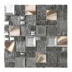 "Glass Metal Mix Mosaic Backsplash Tile, 12""x12"""