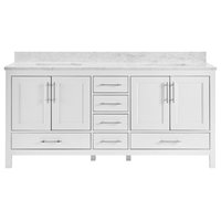 "Kendall White Bathroom Vanity, 72"", Vanity With Carrara Marble Top"