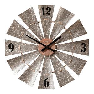 Galvanized Windmill Wall Clock Industrial Wall Clocks