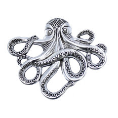 Octopus Cabinet Knob - Nautical Decor Octopus Drawer Knob, Silver