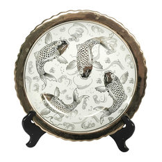 Ceramic Plate With Stand, Koi White/Gold