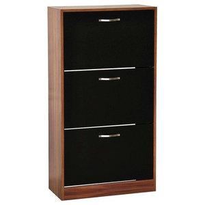 Modern Stylish Shoe Storage Cabinet With 3-Drawer , Walnut and Black