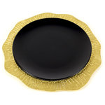 Peetal New York - Lotus Leaf Hollow Charger Plate, Sparkling Gold - Decorate your plate with this jewel like addition to your dinner table. Making a bold statement this lotus leaf inspired hollow charger plate brings an organic elegance to the table. Its innovative design will surely be a talking point at your next dinner party. Handmade using the ancient technique of sand casting, the lotus leaf mould is created. At this point, molten metal is poured in to the mould to capture the minutest detailing of the leafs natural vein pattern. Due to the handmade nature of the product no two pieces are alike. Fits standard size round plates.