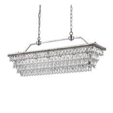 6-Light Antique Silver Rectangular Crystal Chandelier Fixture