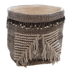 African Deluxe Storage Basket, Latte, White and Gold