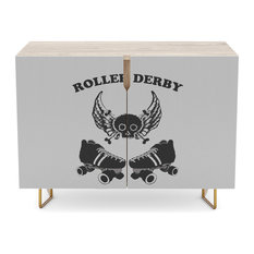 "Society6 - Society6 Credenza, Birch, Steel, 30"", Roller Derby Wings By Blakcirclegirl - Buffets and Sideboards"