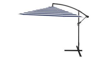 10' Deluxe Polyester Offset Patio Umbrella, Blue, Blue Stripe