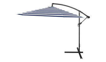 10' Deluxe Polyester Offset Patio Umbrella, Blue, Blue Stripe