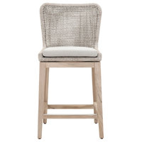 """Mesh Outdoor 26"""" Counter Stool, Taupe & White Flat Rope"""