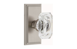 Carre Plate Dummy With Baguette Crystal Knob, Satin Nickel