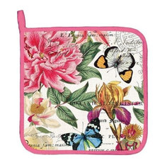 Michel Design Works - Michel Design Works Potholder, Peony - Oven Mitts and Pot Holders