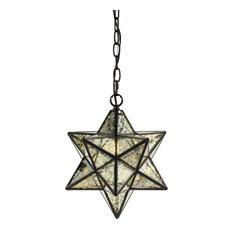 "Stella 12"" Moravian Star Metal/Clear Glass LED Pendant, Oil Rubbed Bronze/Mercuy"