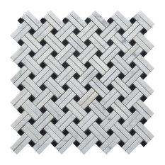 "Nero Marquina Knot Polished Mosaic, 12""x12"" Sheets, Set of 10"